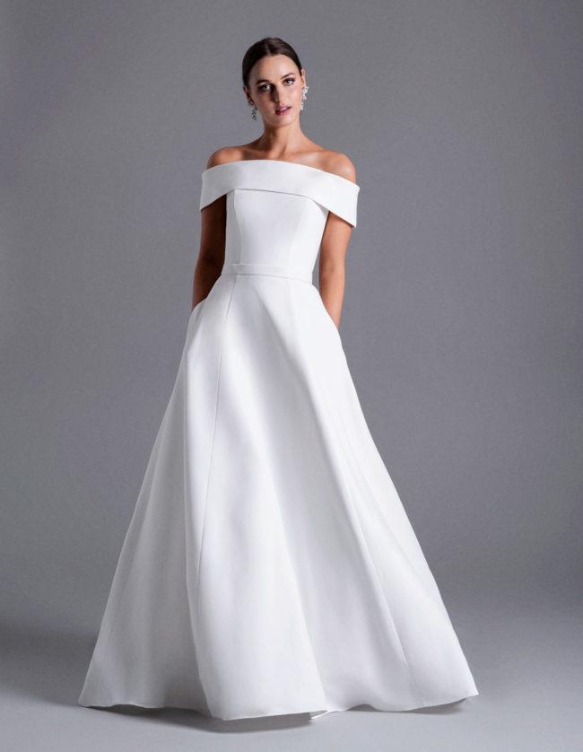 Caroline Castigliano Kaia, crepe wedding dress, elegant wedding dress, wedding dress, wedding dresses, wedding gowns, a-line wedding dress, princess wedding dress, plain wedding dress, luxury wedding dress