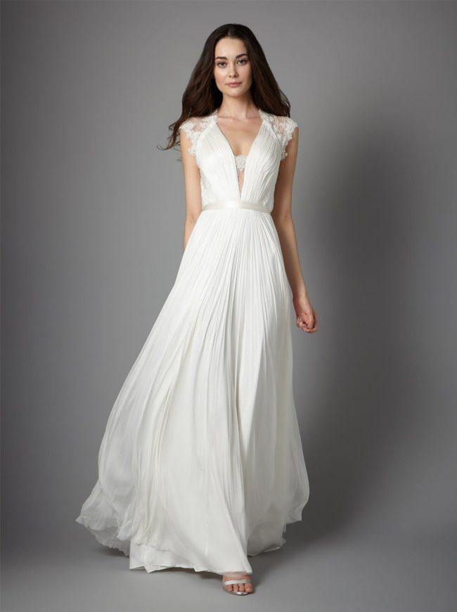 Catherine Deane Fantasia, column wedding dress