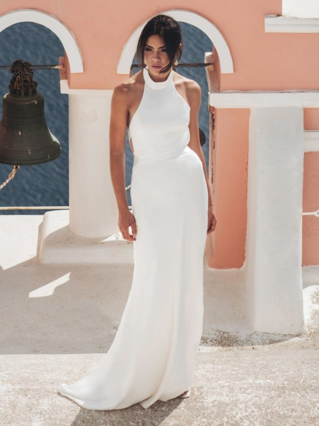 Catherine Deane Kin, fitted satin wedding dress, halterneck wedding dress, catherine deane wedding dress, satin wedding dress, plain wedding dress, backless wedding dress, modern wedding dress, stylish wedding dress, simple wedding dress