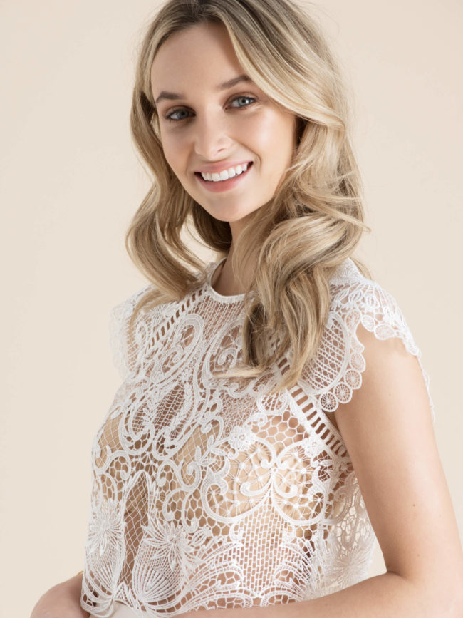 Catherine Deane Liona Top, bridal separates, bridal two piece, bridal topper, bridal top