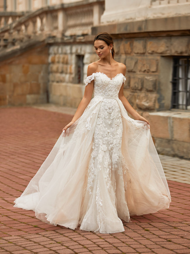 Moonlight Couture H1467, wedding dress, sexy wedding dress, fitted wedding dress, lace wedding dress, bridal overskirt, moonlight bridal wedding dress