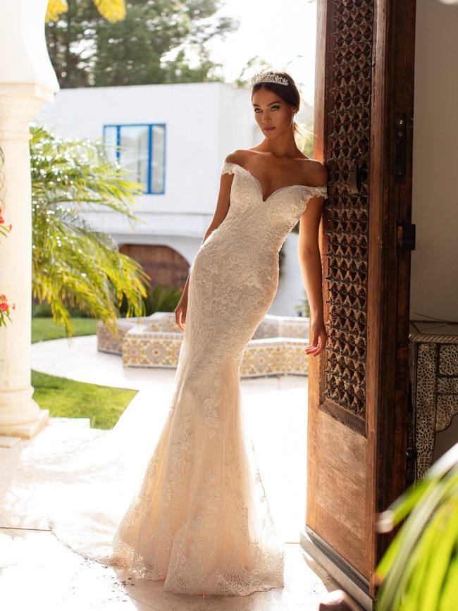 Moonlight H1391, lace wedding dress, bardot wedding dress, off the shoulder wedding dress