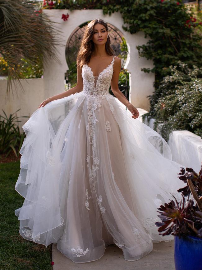 Moonlight H1394, a-line wedding dress, blush wedding dress