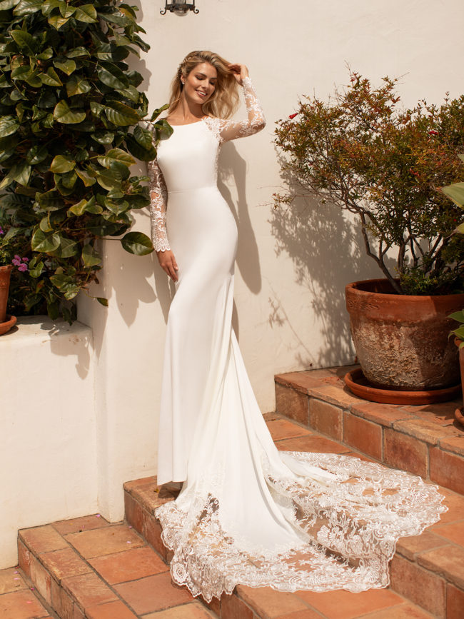 Moonlight J6774, fitted crepe wedding dress, cut out train wedding dress