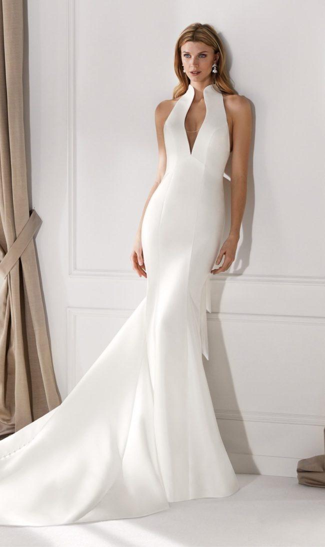 Nicole Milano NIA20631, wedding dress, mikado wedding dress, fitted wedding dress