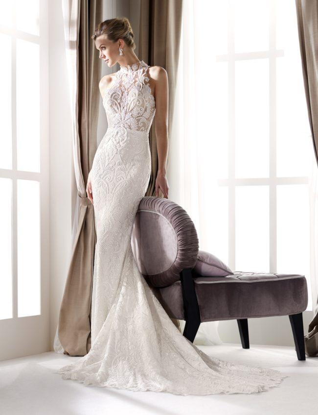 Nicole Milano NIA20651, wedding dress, fitted wedding dress, high neck wedding dress, lace wedding dress