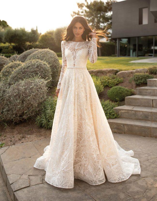 Pronovias Clio, wedding dress, a-line wedding dress, long sleeve wedding dress, winter wedding dress