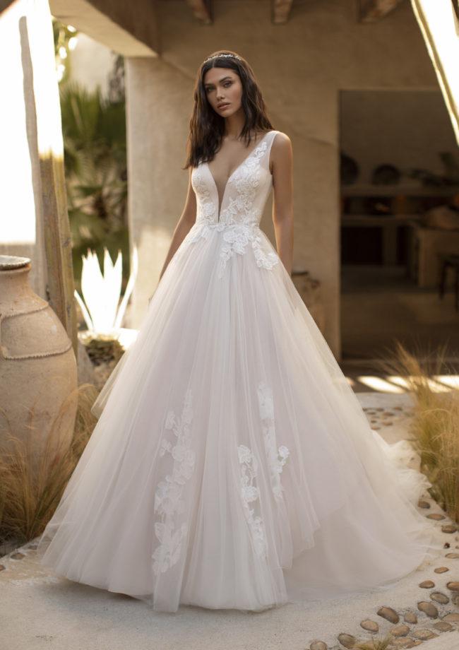 Pronovias Garner, wedding dress, a-line wedding dress, blush wedding dress