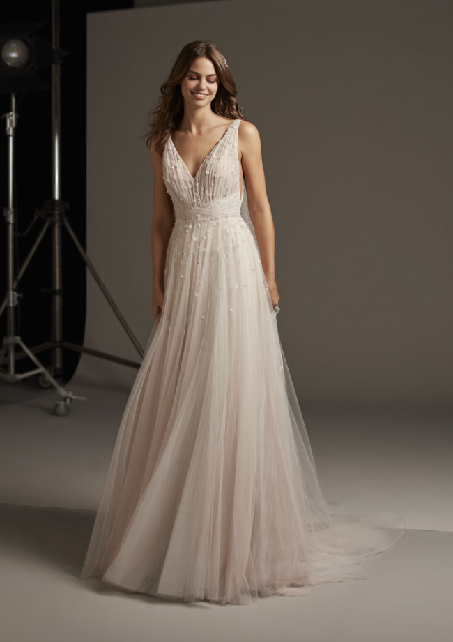 Pronovias Hegemone, wedding dress, a-line wedding dress, tulle wedding dress, blush wedding dress