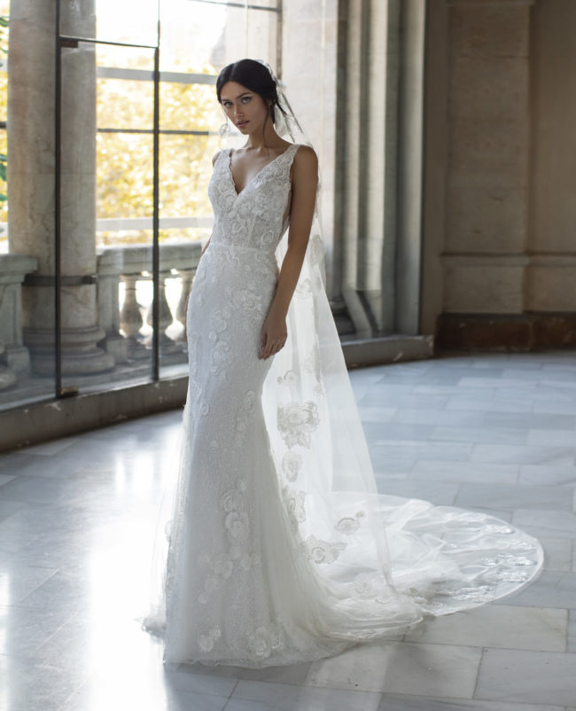 Pronovias Talmadge, wedding dress, fitted wedding dress, beaded wedding dress