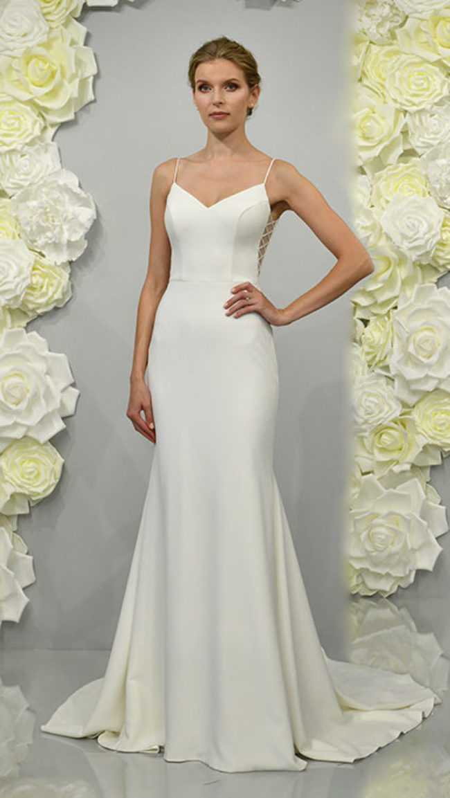 Theia Amaryliss, wedding dress, fitted wedding dress, crepe wedding dress