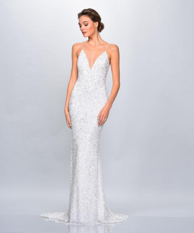 Theia Astor, Wedding Dress, sequin wedding dress, fitted wedding dress, modern wedding dress, alternative wedding dress, sexy wedding dress, sparkly wedding dress