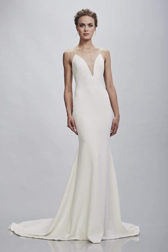 Theia Bruna, wedding dress, fitted wedding dress, plain wedding dress, crepe wedding dress