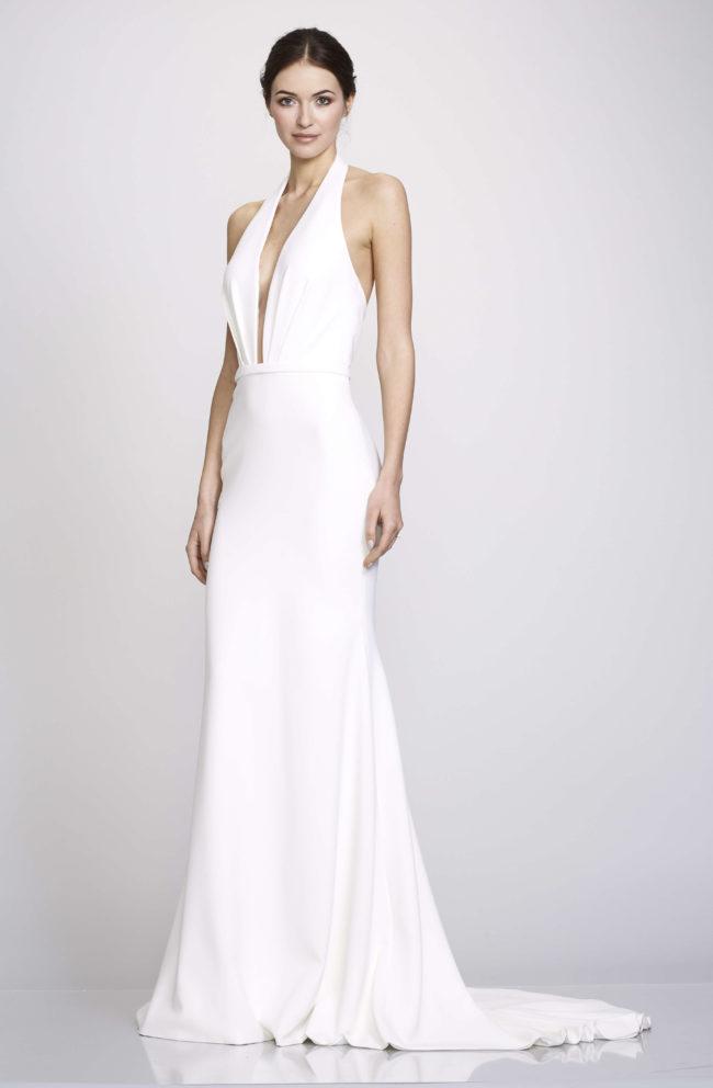 Theia Frederica, Wedding Dress, fitted wedding dress, plain wedding dress, crepe wedding dress, black tie wedding dress