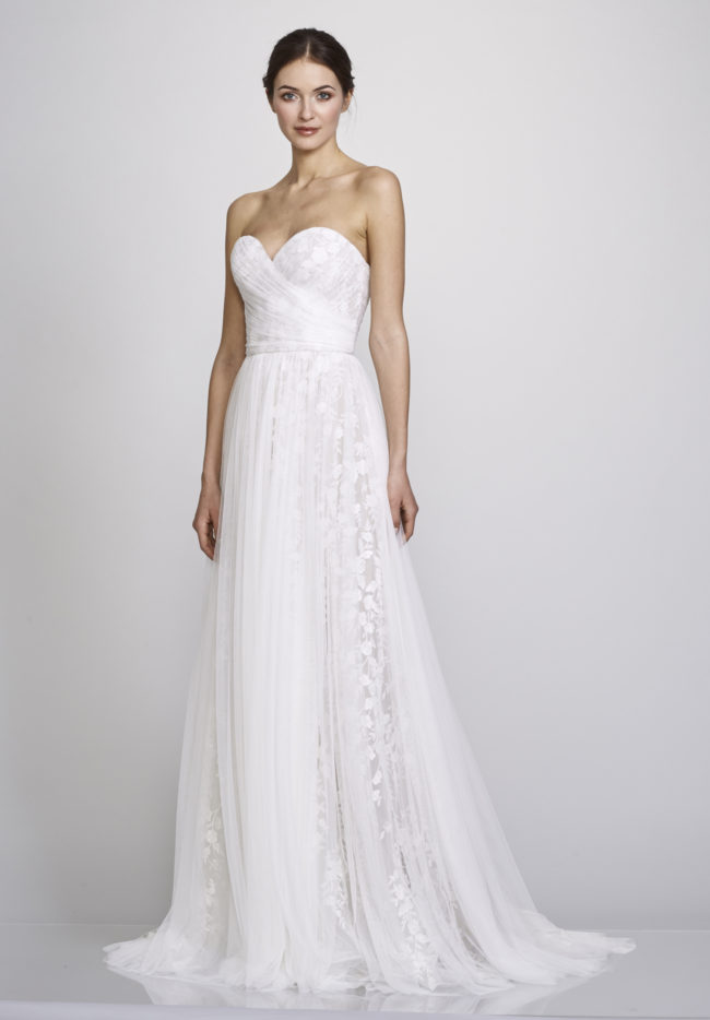 Theia Madalyn, Wedding Dress, a-line wedding dress, boho wedding dress, strapless wedding dress