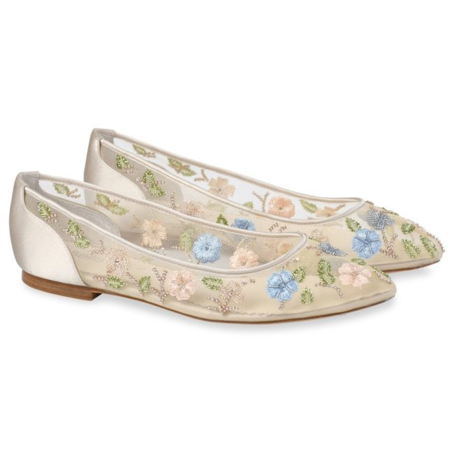 Bella Belle Shoes Pippa, floral wedding shoes, wedding flats, embellished wedding shoes, wedding shoes, pretty wedding flat shoes, flat wedding shoes